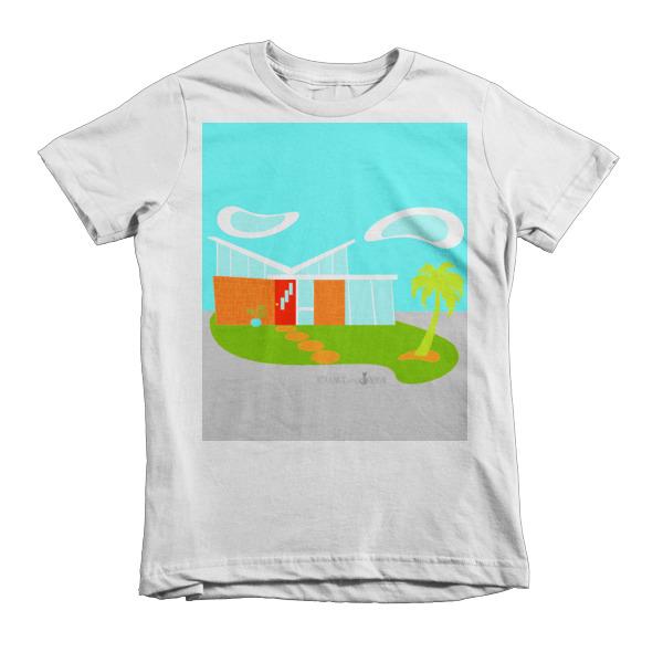 Mid Century Modern Cartoon House Short Sleeve Kids T Shirt