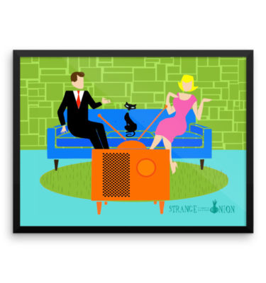 Retro Couple with Cat