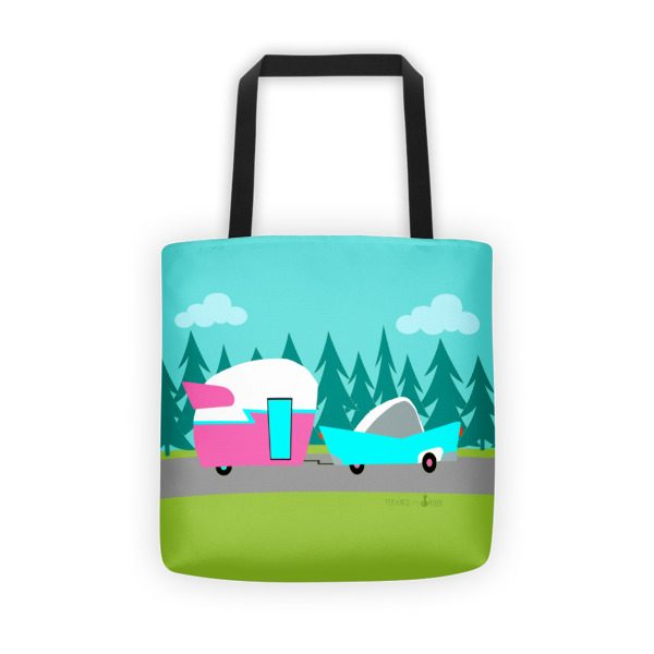 cartoon house trailer retro camper trailer and car tote bag strange little onion