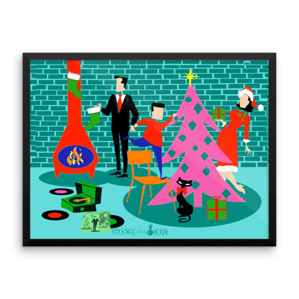 Retro Family Trimming the Christmas Tree