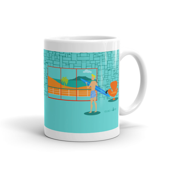 Mug Of Coffee In A Aqua Colored Room